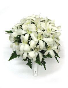 Hawaiian Orchid Wedding Bouquet add tuberoses and PERFECT!