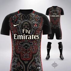 Nike x Balmain Inspired Football Kit Concept for PSG by & Soccer Kits, Football Kits, Football Jerseys, Flag Football, College Football, Basketball, Psg, Mockup Camisa, Sports Jersey Design