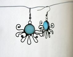 Express Shipping Soft blue earrings Romantic Stained by ArtKvarta