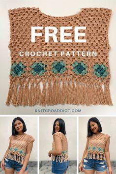 Crochet Tank Tops, Crochet Summer Tops, Crochet Bikini Top, Bohemian Crochet Patterns, Easy Crochet Patterns, Free Crochet, Crop Top Pattern, Shrug Pattern, Crochet Jacket