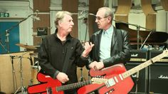 Rick Parfitt and Francis Rossi at the Coles video shoot.