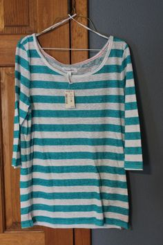Aeropostale Large Teal & White Stripe 3/4 Sleeve Shirt L #Aropostale #KnitTop #Everyday