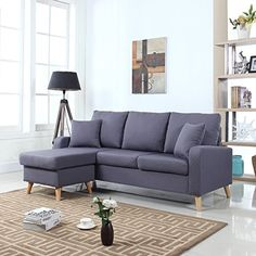 Divano Roma Furniture Presents this small space configurable reversible chaise lounge. Soft linen fabric upholstery on hardwood frame with overstuffed back cushions and memory foam seat cushion....