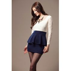 Lovely Pleated Double-layers O Neck Long Sleeves Blue Cotton Sheath Mini Dress