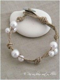 """DIY pearl and twine bracelets. Easy jewelry for bridesmaids if you wanted."""" data-componentType=""""MODAL_PIN"""