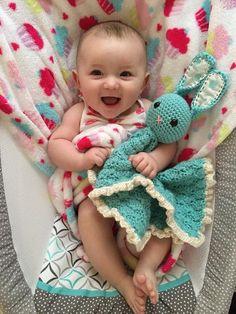 Adorable Crocheted Baby Blanket! Crochet Baby Lovey Blanket Bunny Blanket by TrimbleHandcraftedCo