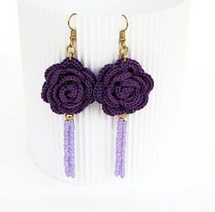 Crochet earrings in violet.Pendientes de ganchillo by lindapaula on Etsy