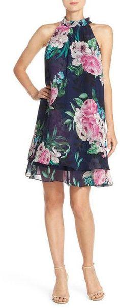 Eliza J Floral Print Chiffon Trapeze Dress (Regular & Petite)