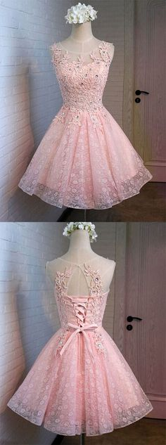 https://www.dresstells.com/glamorous-a-line-scoop-short-mini-pink-lace-backless-lace-up-homecoming-dress-with-appliques-crystal.html    glamorous bridesmaid dress, A-line bridesmaid dress, scoop neck homecoming dress, short homecoming dress, mini bridesmaid dress, pink homecoming dress, pink bridesmaid dress, 2016 homecoming dress, #homecoming #pink #short #2016