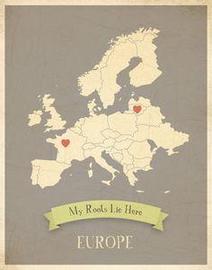 My Roots Map Europe in Gray Children Inspire Design