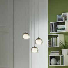 Geschmackvolle LED Pendelleuchte Ascolese aus Stahl/Glas in nickel-matt/wei&s... | EGLO | 94318 - click-licht.de