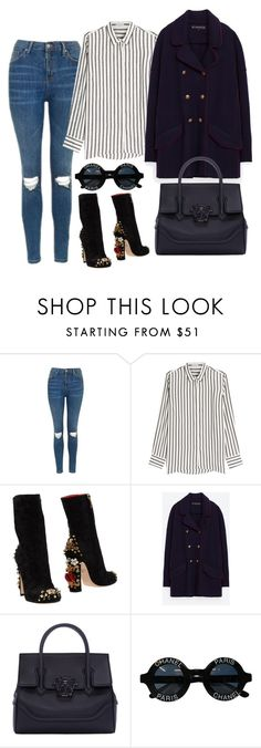 """""""Untitled #1579"""" by mihai-theodora ❤ liked on Polyvore featuring Topshop, Brunello Cucinelli, Dolce&Gabbana, Versace and Chanel"""