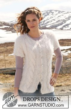 "Knitted DROPS jacket in ""Symphony"" with cables and short raglan sleeves. Size S-XXXL. - Free pattern by DROPS Design"