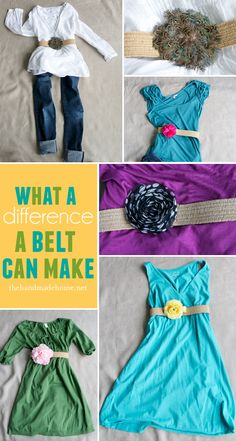 DIY flower belt. super cute and you can change out the flowers to match different outfits!