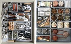 Drawer organization. Kitchen drawers, organized. (You get a point if you can guess whose drawers these are. ;) )