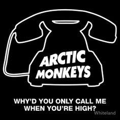 Why'd You Only Call Me When You're High? (Black) by Whiteland Arctic Monkeys Wallpaper, Monkey Wallpaper, Monkey Icon, Monkey Art, Rock Indie, Rap Album Covers, Rock Poster, Rap Albums, Hippie Wallpaper