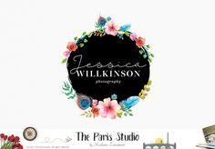 Watercolor Floral Circle Logo Design - photography logo, website logo, boutique logo, creative business branding or small business logo.  https://www.kznwedding.dj