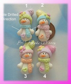 Winter Snowman with Pastel Scraf Polymer Clay Charm Bead, Scrapbooking ...