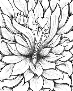 I LOVE YOU... Hand drawn digital download, flower of love Beautiful Flower Drawings, Botanical Line Drawing, Black And White Wall Art, Plant Drawing, Drawing Challenge, Create And Craft, Create Your Own Invitations, Mandala Art, Art Sketches