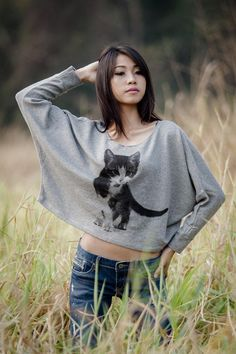 Hey, I found this really awesome Etsy listing at https://www.etsy.com/listing/91138526/cat-sweatshirt-pullover-oversize-style