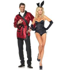 Couples Costumes, Hef Jacket and Adult Halloween Costumes halloween costumes couples Bunny Halloween Costume, Couple Halloween Costumes For Adults, Halloween Kostüm, Halloween Outfits, Cute Costumes, Costume Ideas, Sexy Couples Costumes, Partner Costumes, Sexy Adult Costumes