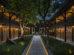 Completed in 2015 in Chengdu, China. Located in the heart of Chengdu – one of China's key centres of finance and commerce – is The Temple House, a historically-rich hotel that opened in. Light Architecture, Landscape Architecture, Landscape Design, Garden Design, Chengdu, Home Temple, Temple House, Landscape Lighting, Outdoor Lighting
