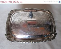 May Sale Trinket Box Vintage Silver Plate Candy Nut by HobbitHouse