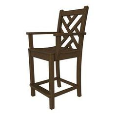Polywood Chippendale Teak Plastic Patio Barstool Chair Cdd201te