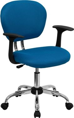 Flash Mesh Task Chair #H-2376-F-Arms. This value priced mesh task chair will accommodate your essential needs for your home or office space. This chair will add a splash of color to your office for a non-traditional look. Chair features a breathable mesh material with a comfortably padded seat.