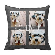 Peace Love Joy Holiday Chalkboard Photo Collage Pillows