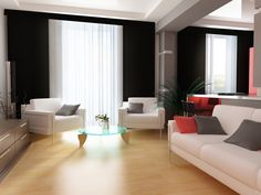 Nice Curtain Style Ideas for Contemporary and Modern Living Room: White Minimalist curtains for modern living room with white red black sofa