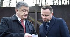 Ukrainischer Präsident Petro Poroschenko (l.) mit seinem polnischen Amtskollegen Andrzej Duda in Kharkiw