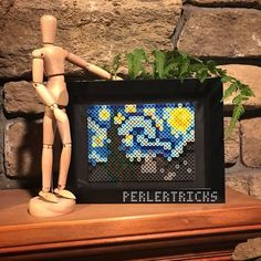 The Starry Night Perler Bead Framed Art - Vincent Van Gogh painting pixel 8 bit art history geekery hama beads fuse home decor PerlerTricks by PerlerTricks on Etsy