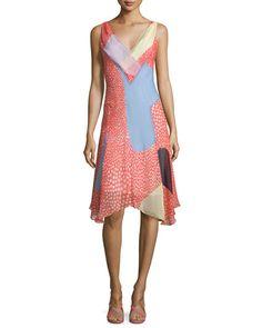 TBY0B Diane von Furstenberg Dita Sleeveless Silk Patchwork Dress
