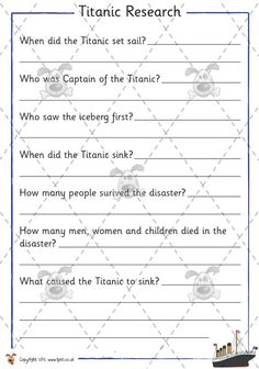 Teacher's Pet - Titanic Research - Premium Printable Classroom Activities and Games - EYFS, RMS, disaster, iceberg Primary Classroom, Classroom Activities, Book Activities, Titanic Model, Social Studies Worksheets, Homeschool Books, Teachers Pet, Facts For Kids, Home Learning