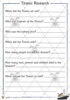 Titanic Activity Worksheets | Pet - Titanic Research - Premium Printable Classroom Activities ...
