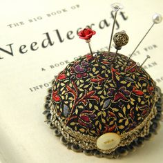 Black and Gold Medieval Pincushion Brooch by Wychbury