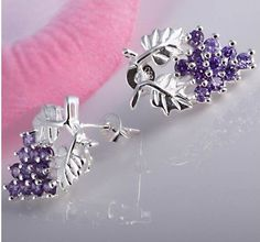 Grape-vine style post/stud earrings for pierced ears. Genuine .925 Sterling Silver and 12 Amethyst stones set in a highly detailed grape-vine design. $15.