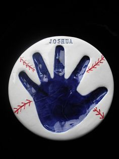 Baseball Handprint Plaque Small Single and Mold by handprintlady, $65.00