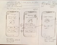 Concept sketch for sleep mobile app - screen to prompt user when sleep monitoring headset falls off - I had fun with this one :)!