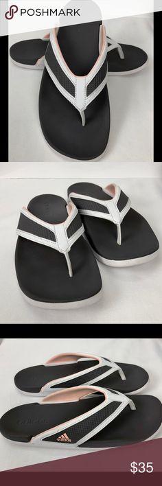 29aa76ee2 Adidas Flip Flops Thong Size 9 white pink Preowned Adidas Thong Flip Flops  Sandals Size 9