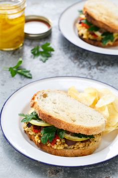 Marinated Chickpea Sandwiches with Lemon Confit, Parsley, Olives, and Roasted Red Peppers from @LoveAndOliveOil | Lindsay Landis