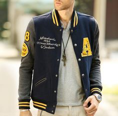 Men Varsity Baseball Letterman Jacket. Fabric: Cotton Blend Color Available: Navy Size: XS, S, M, M+ XS Shoulder : 41 cm / 16 inch - Sleeve : 63.5 cm / 25 inch Chest : 100 cm / 39 inch - Length : 65 c