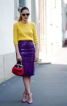 7 Color Combinations Perfect for Spring – Glam Radar : yellow sweater with purple skirt Lila Outfits, Purple Outfits, Colourful Outfits, Skirt Outfits, Fashion Colours, Colorful Fashion, Look Office, Purple Skirt, Purple Yellow