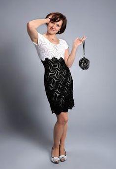 5eba31edd4f9 Μαύρο και άσπρο βελονάκι φόρεμα - Γράφημα. Όμορφη - Δωρεάν Σχέδια πλέκω