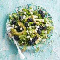 Groene salade met bramen, avocado en rodevruchtendressing - Boodschappen