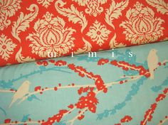 Joel Dewberry Fabric / Sparrows in Aqua  / AVIARY 2 /  by mimis, $8.99