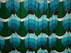 Vintage 1960's Huge Rayon Cotton Curtains Barbara Brown Pop Art Style Green in Collectables, Sewing/ Fabric/ Textiles, Fabric/ Textiles | eBay