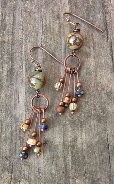 Eclectic Copper Earrings with Colorful Artistic Matte Czech Glass Beads