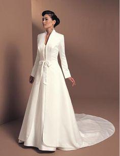 Ivory Damask Long, Fitted Edwardian Wedding Coat | Wedding coat